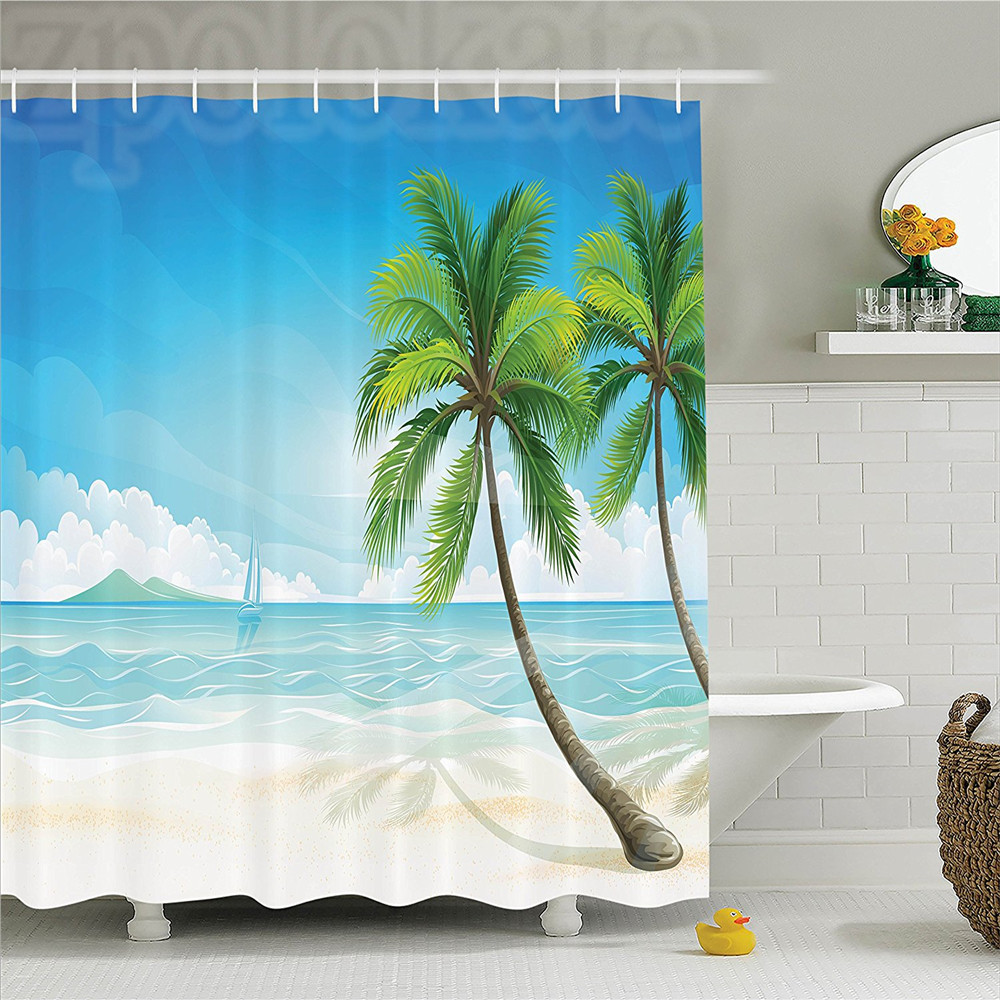 Ocean Graphic of an Exotic Beach with Palm Trees in Tropical Island Sun Summer Zone Print Polyester Bathroom Shower Curtain Blu