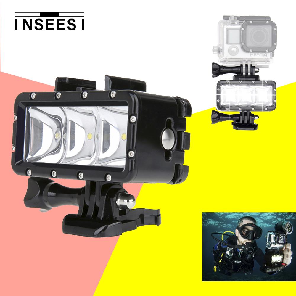 Prix pour Gopro plongée lampe de poche lampe sous-marine étanche led flash vidéo light mount pour go pro hero 4/3 +, sjcam sj4000 aee 6000 sj7000