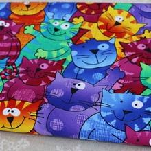 Хлопчатобумажная ткань с цифровой печатью для шитья котов из мультфильмов