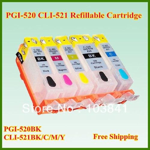 KIT 5 CARTUCCE PGI-520 CLI-521 COMPATIBILE CON CHIP PER CANON Ip3600//IP4600//MP54