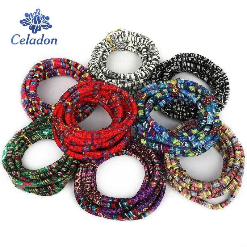 Высококачественные разноцветные тканевые шнуры 3 м 5 мм в богемном стиле, веревка для самостоятельного изготовления плетеных сумок, ювелирн...