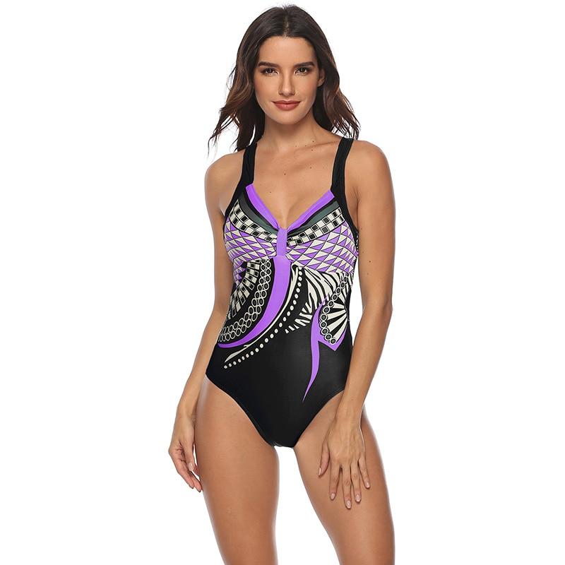 Женский купальник 2019, сдельный купальник, Ретро стиль, купальники, открытая спина, купальник для пляжа размера плюс, монокини, M-3XL 35