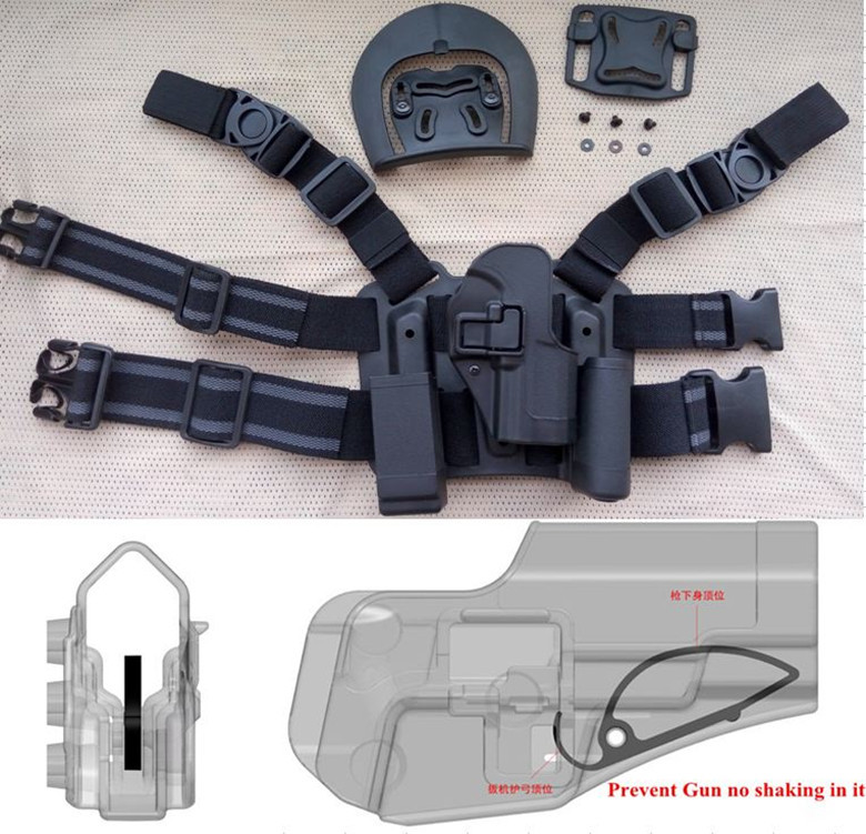 Compact Type Tactical Airsoft Drop Leg Right handed holster Set Panel Mag Flashlight Pouch Belt Loop paddle CQC pistol holster
