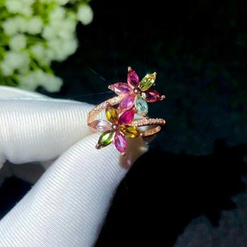 shilovem 925 sterling silver real Natural tourmaline Rings fine Jewelry women trendy wedding open Christmas gift bj2.505099agx