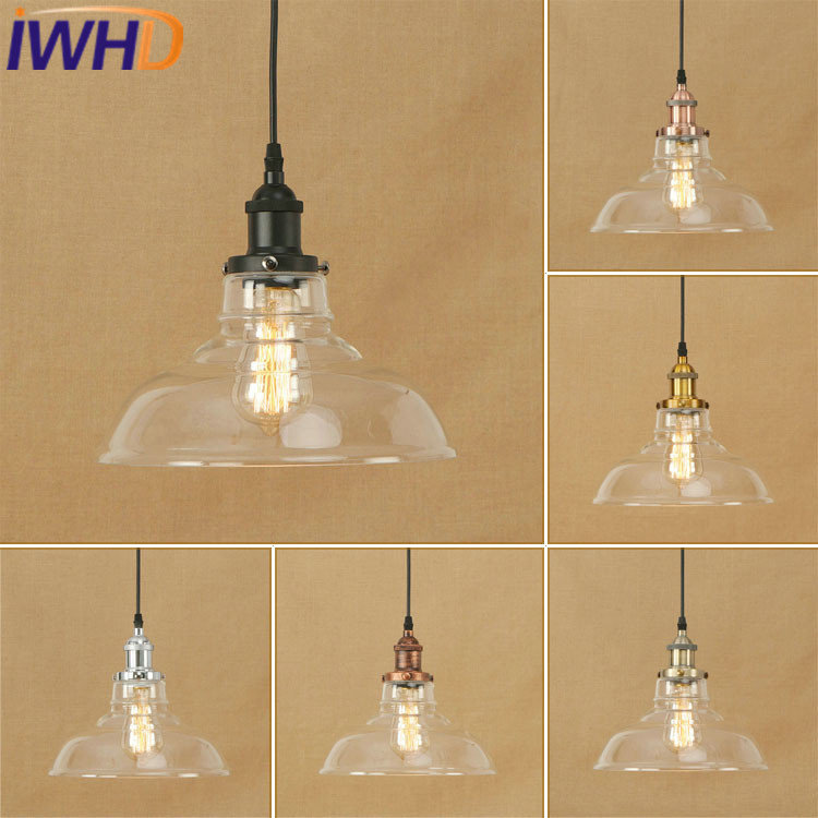 IWHD Glass Lamparas Pending Lighting Fixtures Style Loft Vinage Industrial Vintage Pendant Lights Bedroom Hanglamp