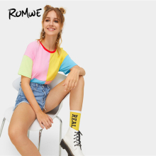 ROMWE Multicolor Cut and Sew Ringer Tee Women Summer 2019 Short Sleeve Round Neck Colorblock Casual Streetwear T-Shirt Tops цена