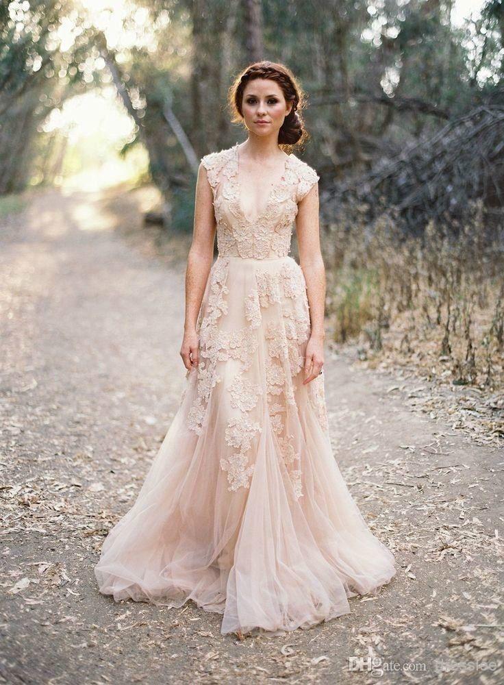 High Quality appliques vestido de noiva v neck lace wedding dress ...