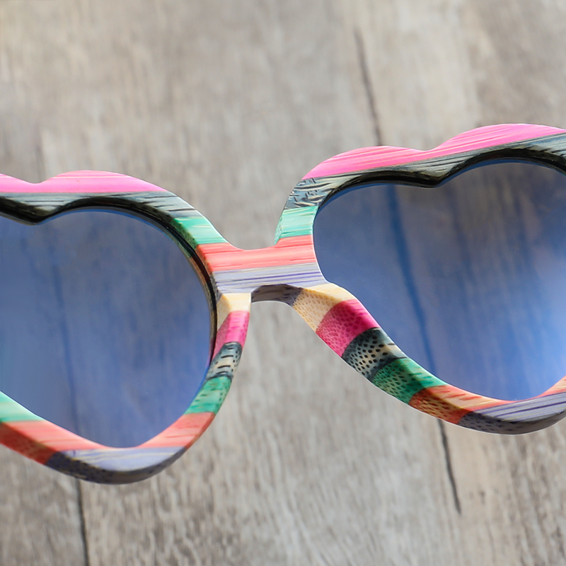 Image 5 - Fashion Heart Sunglasses Brand Designer 2018 Women Wood Bamboo Sun Glasses Mens Polarized Pink Shade-in Women's Sunglasses from Apparel Accessories