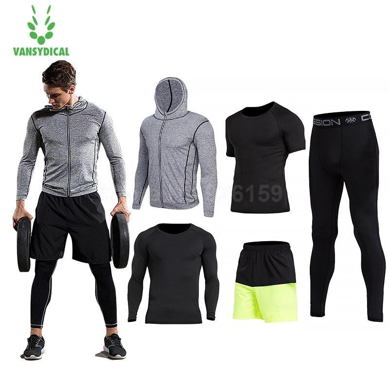 0dff96bc 2018 Vansydical для мужчин s спортивный костюм бег костюмы 5 шт. Мужская  спортивная одежда тренировки спортивные костюмы баскетбол трикотаж тренир.
