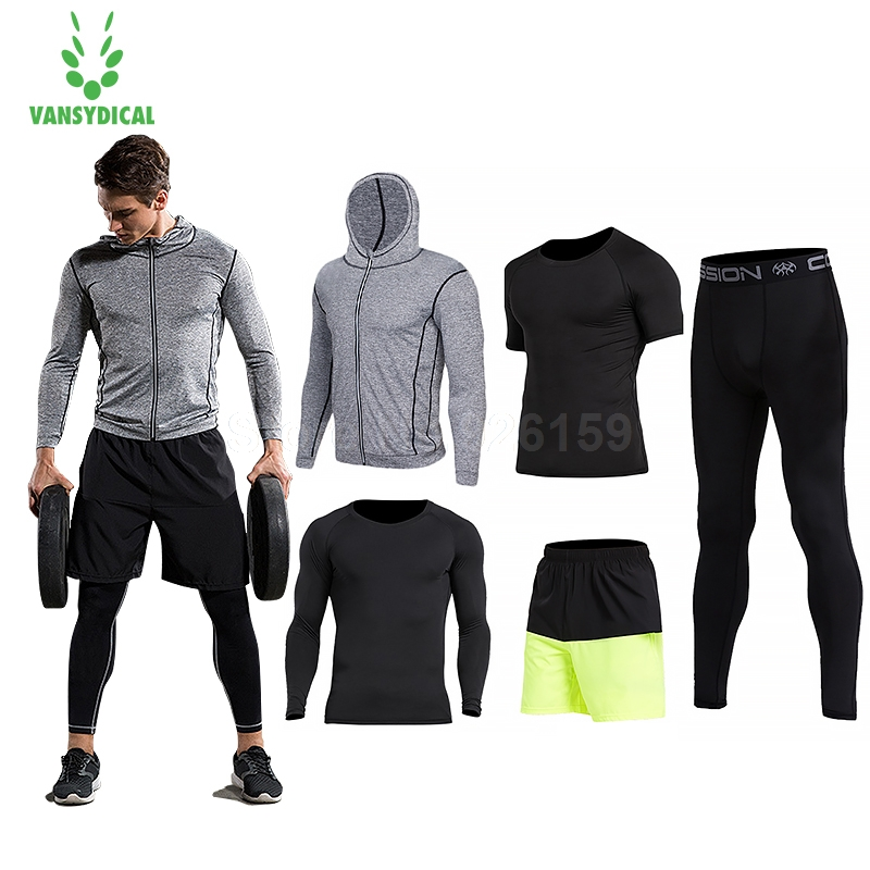 цены 2018 Vansydical Mens Sport Suit Running Suits 5pcs Men Gym Clothing Workout Sports Suits Basketball Jersey Training Tracksuits