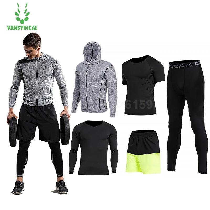 2018 Vansydical abito Da uomo di Sport Che Eseguono Abiti 5 pz Uomini Palestra Vestiti Allenamento Vestiti di Sport di Pallacanestro Jersey Training Tute