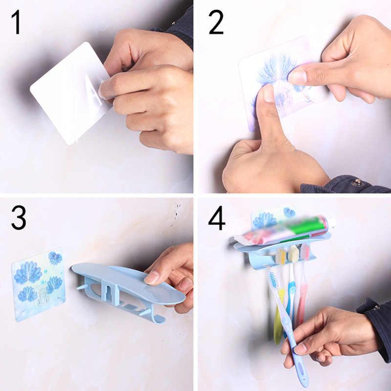 Uchwyt na szczoteczki i pastę do zębów wieszak montażu na ścianie zestaw do kąpieli łazienka mocna przyssawka szczoteczka do zębów wisząca półka do przechowywania chłopak-sprzedaż