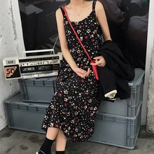 Korean Style Summer Fashionable Floral Women Spaghetti Strap Long Dress Fashionable Vintage Casual Loose Female Beach Maxi Dress цена 2017
