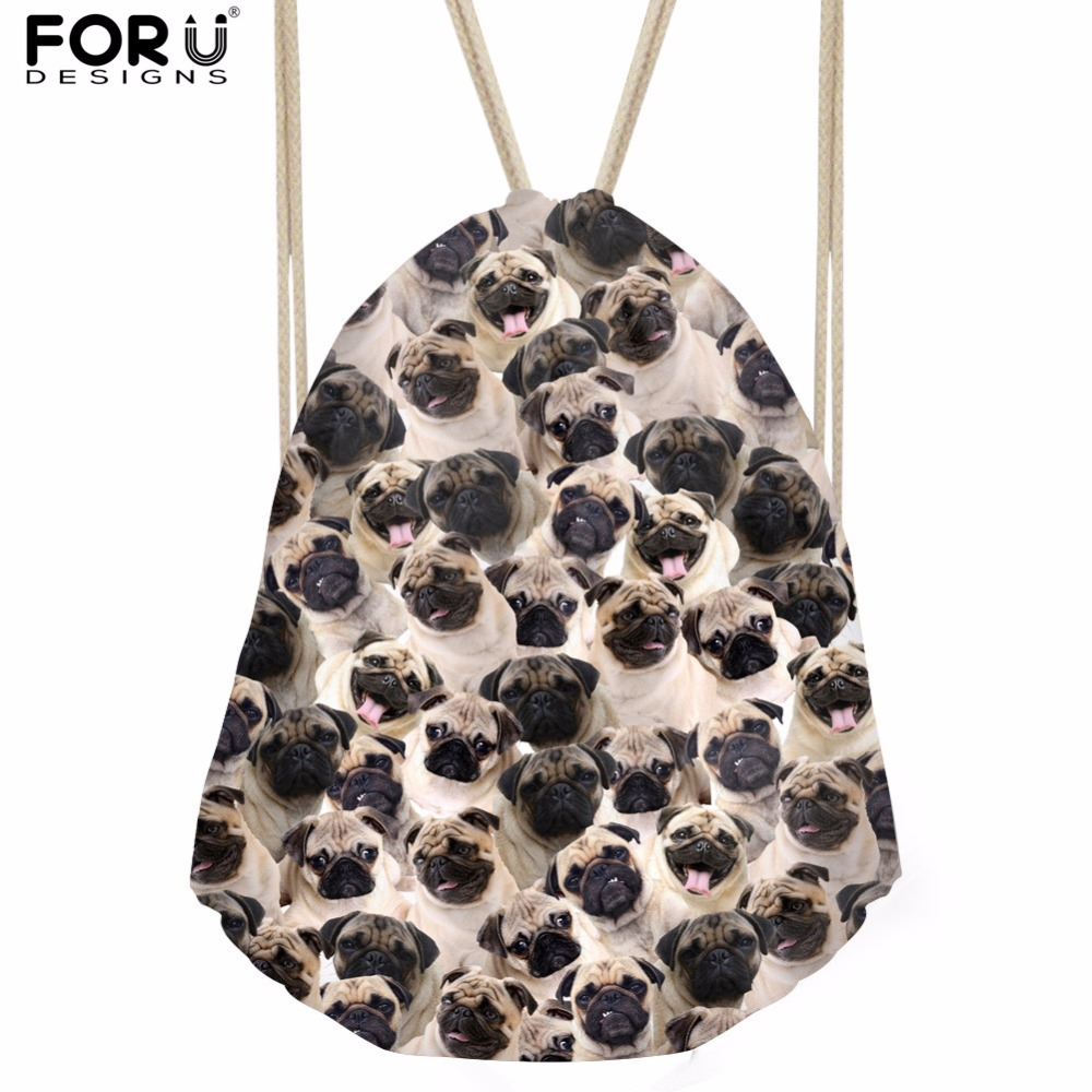 FORUDESIGNS Cute Animal Pug Dog Printed Small Women&Men Drawstring Backpack School Girls Boys Drawstring Bag Mochila Feminina