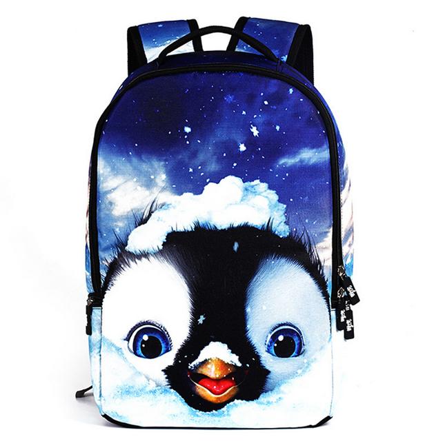 18 Pulgadas Hombres Mujeres Mochilas 3D Animales Pingüino Bolsa de La Escuela Mochilas Para Estudiantes Niños Niñas Niños bolso de Escuela del Morral