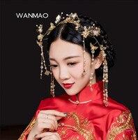 Imitation Pearls Crystal Chinese Style Tiaras And Crowns Headdress Tassel Coronet Bride Wedding Hair Jewelry Women