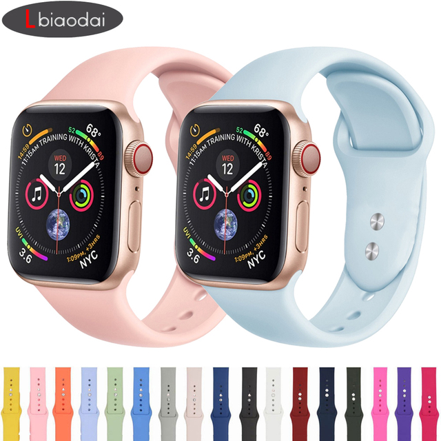 Lbiaodai Strap For Apple Watch Band Apple watch 4 3 correa Iwatch band 42mm 38mm 44mm 40mm Sport Silicone Bracelet Watchband