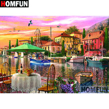 HOMFUN 5D DIY Diamond Painting Full Square/Round Drill Town scenery Embroidery Cross Stitch gift Home Decor Gift A09184 homfun 5d diy diamond painting full square round drill aircraft scenery embroidery cross stitch gift home decor gift a08494