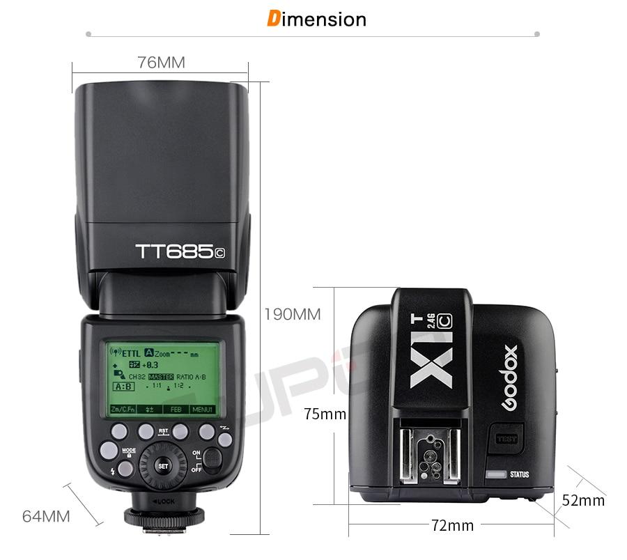 Godox V860II-C TTL Flash Speedlite 2.4G Inal/ámbrico E-TTL II Li-on C/ámara Flash X1T-C Tranmisor Difusor
