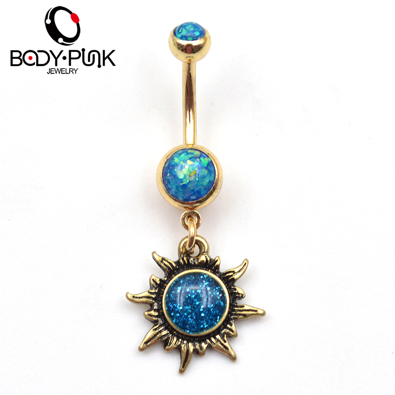 BODY PUNK Burnished Gold Sun test piercingek Ékszer Navel Ring Belly gomb gyűrűk Bijoux Pirsing Női ombligo NR 032