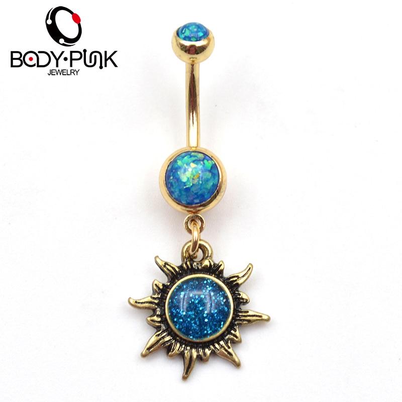 Body Punk Burnished Gold Sun Body Piercings Jewelry Navel Ring Belly Button Rings Percing Bijoux Pirsing Women Ombligo Nr 032