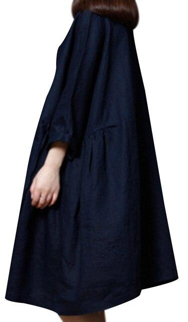 P Ammy Lagenlook Plus Size Linen&Cotton Fashion Short sleeve Dress 1