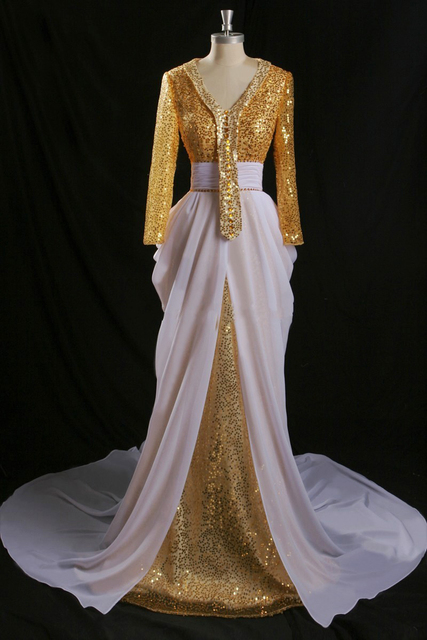 Shinning Sequined Beads Celebrity Dress Sparkable V-Neck Chiffon Formal Party Dress Eye-Catching Gold And White Vestidos Longo