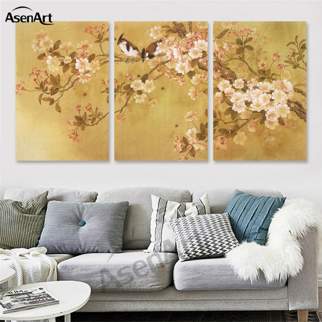 Spray Painting Flowers And Birds Chinese Calligraphy Canvas Three ...