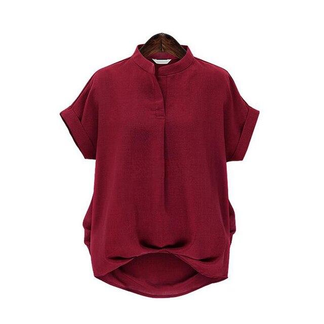 カジュアル緩いトップス夏トップスblusas半袖スタンド襟シャツ無地プラスサイズ女性ブラウスfemininas TY4211