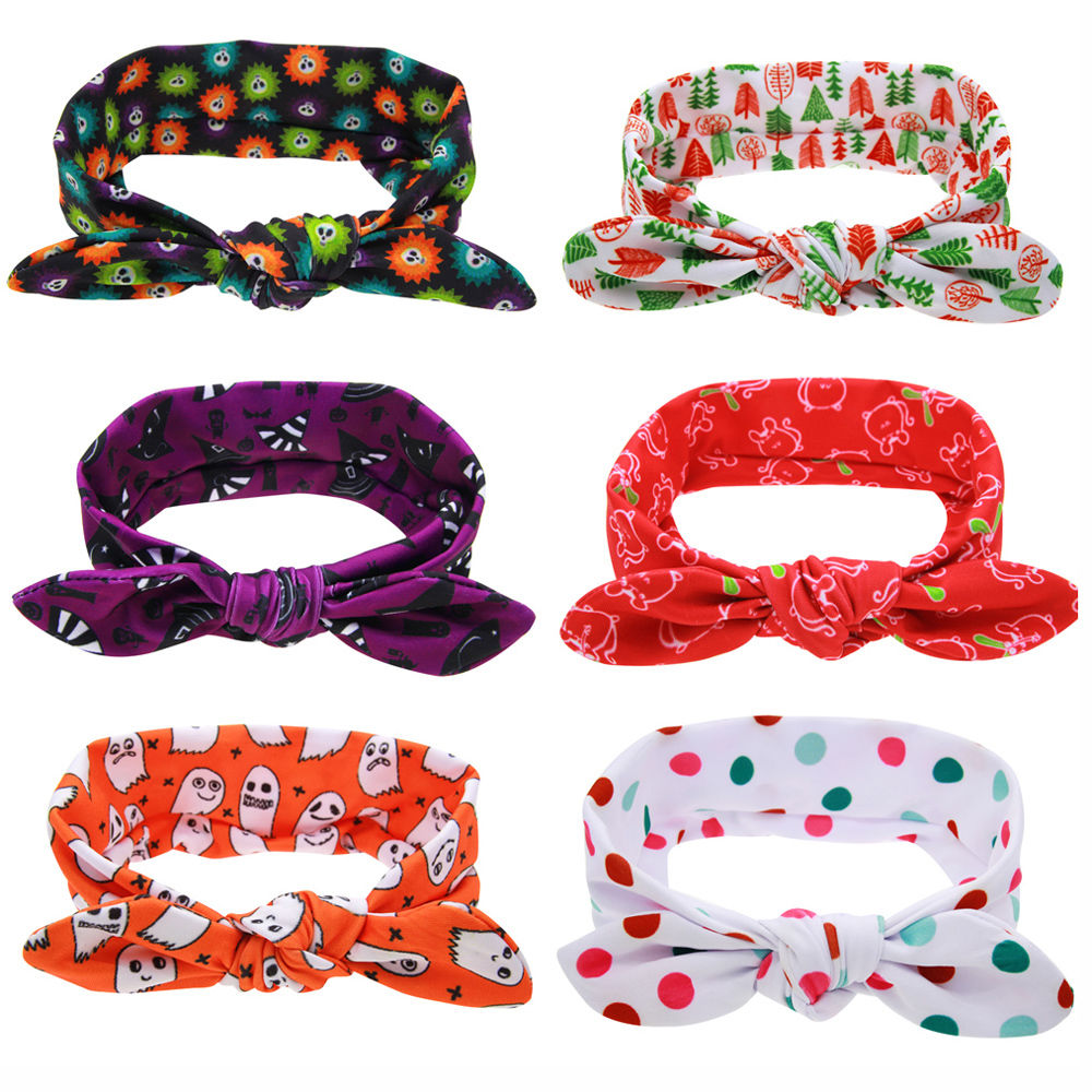 1PC Fashion Cute Unisex Boys Girls Hairband Halloween Cotton Headwrap Bowknot Headband Christmas Hair Band Accessories