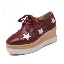 2016 Stars flat shoes women Round Toe Patent Leather Platform Shoes Oxford Lace up Derby Shoes large size Brogue Shoes z47