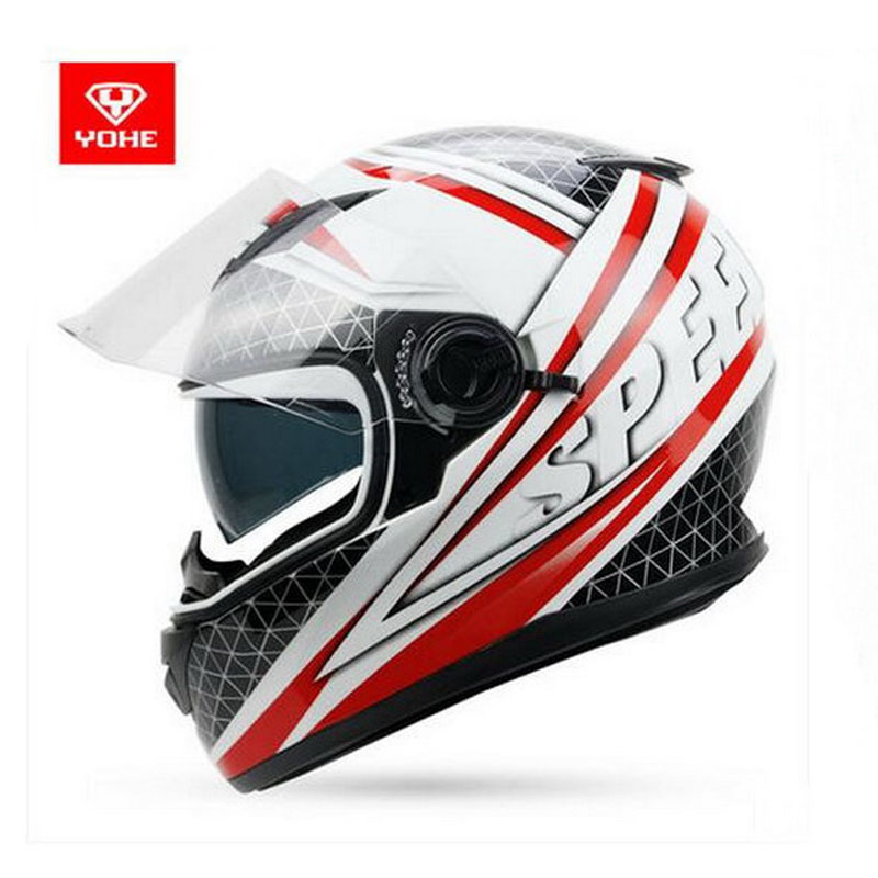 2017 Autumn winter New YOHE  double lens Full Face Motorcycle helmet YH-970 cross-country motorbike riding helmets made of ABS 2017 new knight protection gxt flip up motorcycle helmet g902 undrape face motorbike helmets made of abs and anti fogging lens