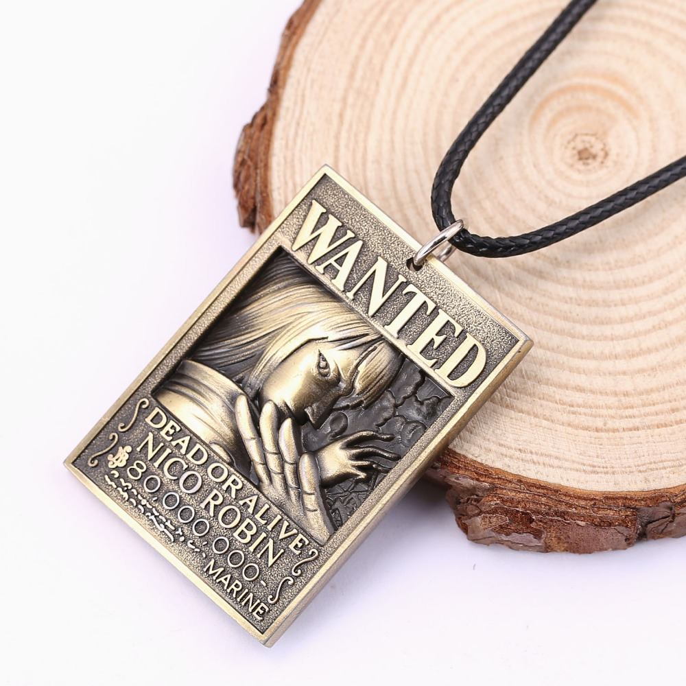 12pcs/lot Anime Jewelry One Piece Dog Tag Military Card Pendant 3D robin figure Wanted Necklace hot sale rope collar necklace
