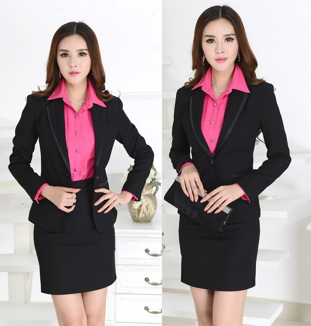 New Elegant Black Slim Fall Autumn Women Work Wear Suits Formal