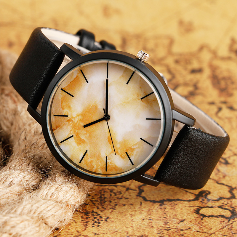 Casual Watches Unisex Quartz Watch Unique Tea Stain Design Leather Stylish Men Women Fashion Wristwatch Male Clock Relogios stylish unisex quartz watches men sports watches denim fabric women dress watch news paper wristwatch design hours