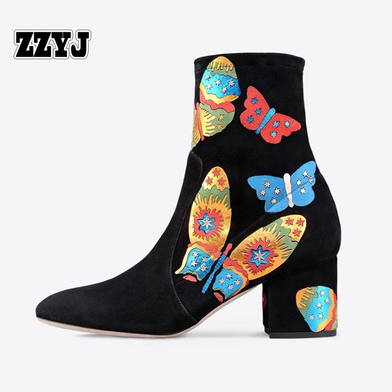 ZZYJ large size women's sheepskin ankle boots Europe top fashion butterfly ladies thick heel shoes national style female shoes
