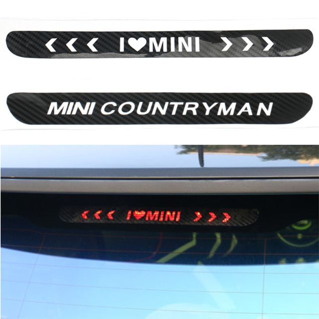 Carbon fiber stickers and decals high mounted stop brake lamp light car styling for bmw mini