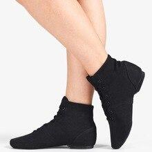 canvas jazz boots shoes women lace up men cotton upper suede sole dance