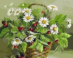 Mahuaf-x512 Картина по номерам Ромашки и земляника Сделай сам рисовать маслом по номерам комплект на холсте Искусство Ремесло цветы 40x50 см
