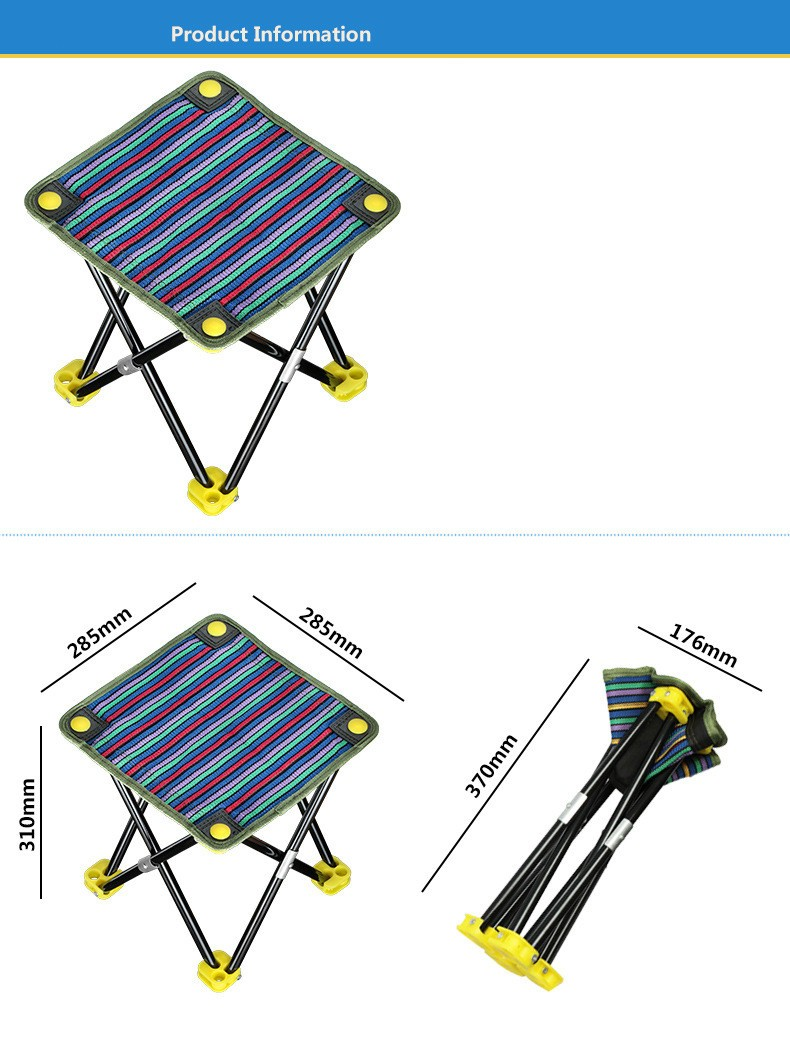 Portable folding chairs outdoor picnic camping hiking fishing barbecue garden stool chair seat wholesale tripod feet 2