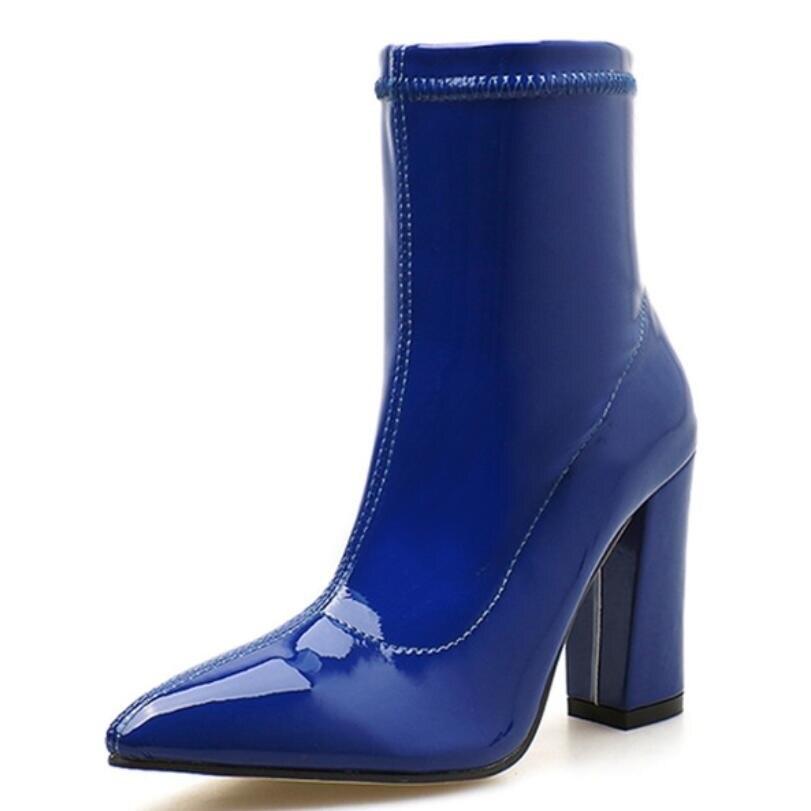 De azul Botas Cuero Alto 35 Charol azul Tobillo Beige Beige negro Mujer negro Tamaño Cm 10 Tacón Punta Las Mujeres 40 Otoño 0Iwt1S