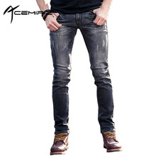 ACEMIRIZ Fashion Simple Men Jeans 2017 Brand Men Denim Jeans Skinny Slim Fit Cotton Size 29-36 Dark Blue Jeans Pants FH-60037