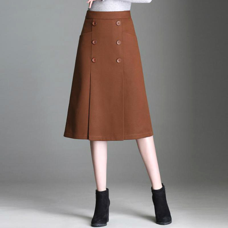 Winter Fall Fashion Office Lady Women Camel Woolen Buttons Mid-calf Wool Skirt , Female Woman 4xl Double Breasted Woolen Skirts