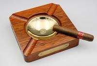 JIFENG Cigar Ashtray Solid Wood Ashtray Creative Copper Ashtray Accommodates 4 Cigars