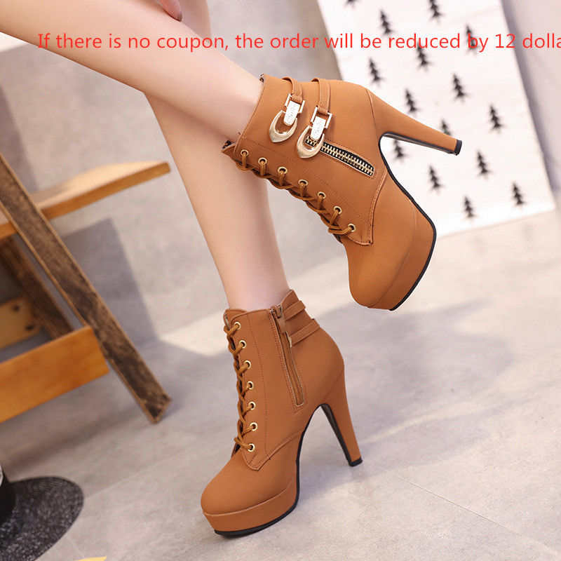 Super high heel stiletto waterproof side zipper boots womens shoes with large size foreign trade Martin bootsSuper high heel stiletto waterproof side zipper boots womens shoes with large size foreign trade Martin boots