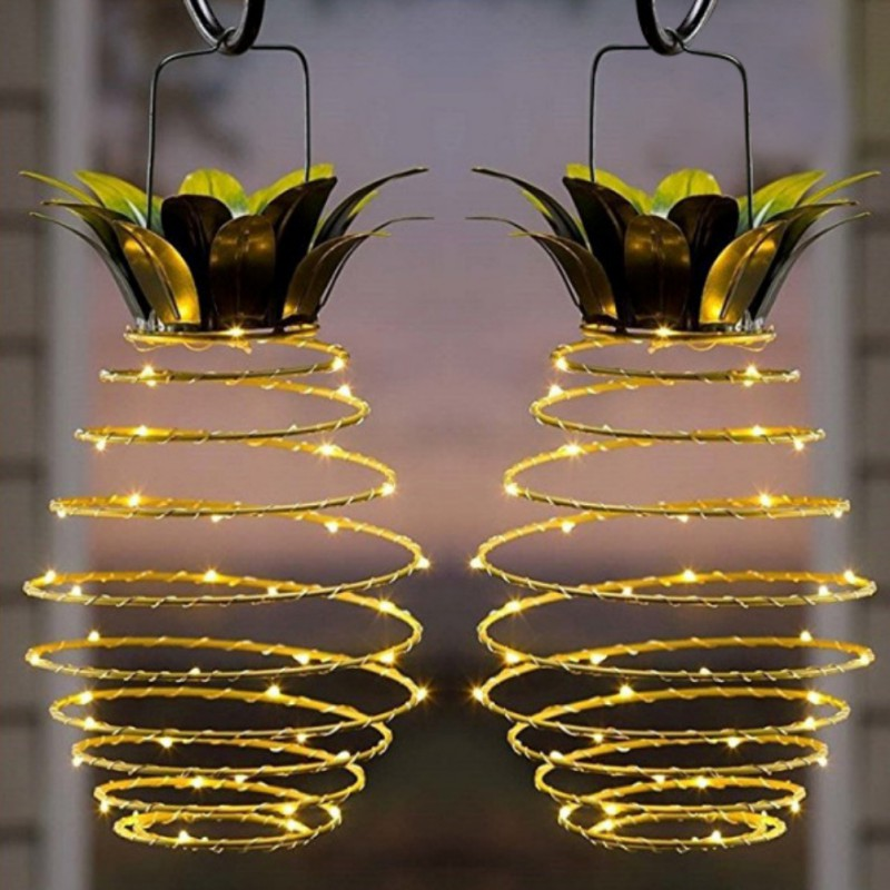 Iron Pineapple Hanging Solar Lanterns Garden Lights 25 LED Outdoor Fairy  Lights Solar Path Solar String