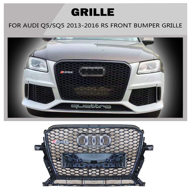 Q5 SQ5 Sline Grille black Emblem Front Bumper mesh Radiator Grille For Audi Q5 SQ5 2013-2016 S Line car styling golfliath sq5 style black painted chrome frame honeycomb mesh front grille for audi q5 2009 2012