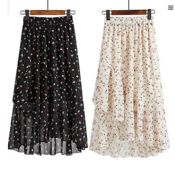Womens Bohemian Beach Chiffon Skirts Female Summer 2019 New Floral  Lace Up Skirt Ruffled Irregular