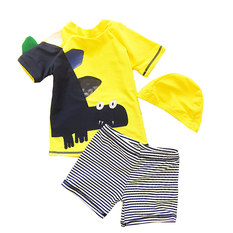 Clothing Sets Competent Boys Swimsuit Cartoon Striped Kids Beach Bathing Swimwear 3 Pieces Summer Childrens Clothing Sets Tshirt Shorts Cap Child Suits Finely Processed