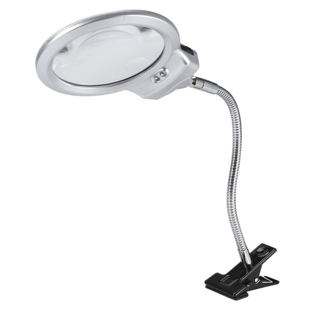 Portable Table Top Desk Lamp Lighted Magnifier Large Lens Magnifying Glass With Led Light Clamp Eye